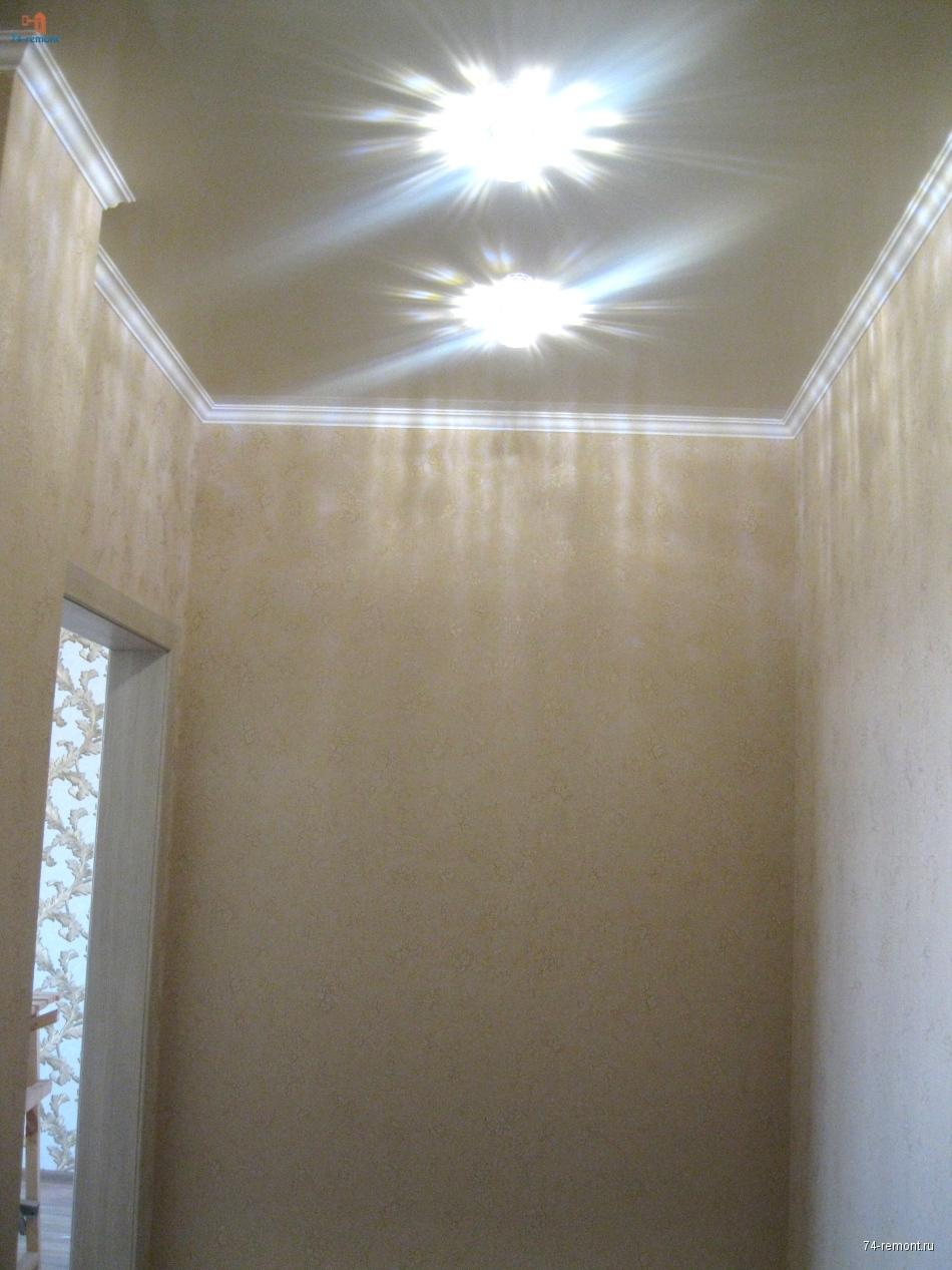 Установка натяжного потолка и освещения
